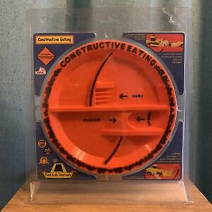 Constructive Eating Construction Plate Orange Made in USA Creative Learning NEW