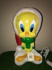 "NEW Vintage 17"" Christmas Santa's Best Tweety Bird Lighted Blow Mold Yard Decor"