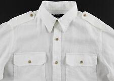 Men's DANIEL CREMIEUX White Linen Pocket Safari Shirt M Medium NWT NEW