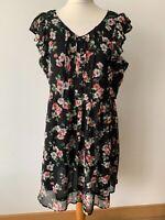Tu Black Floral Pin-tuck Dress Size 16 Chiffon Layered Frill