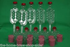 Rubber Demijohn Bungs x 10, Bubbler Airlocks x 10 - Wine Making - Home Brewing