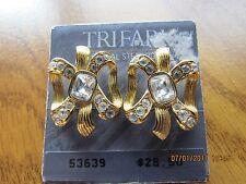 TRIFARI crystal rhinestone ribbon shape gold tone post earrings, NICE!