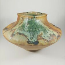 HANDMADE Canyon Creek Pottery Rustic Brown & Green Stoneware Art Vase, Signed