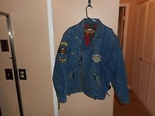 Vintage Harley Davidson Panhead Distressed Denim Convertible Jacket/Vest M