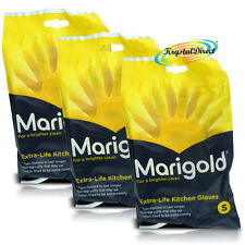 3 x Marigold G43Y Extra Life Cotton Lined Stronger Small Size Kitchen Gloves