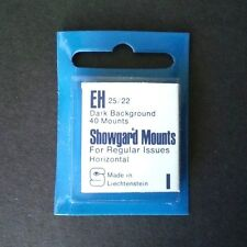 Showgard Stamp Mounts Size EH 25/22 BLACK Background Package of 40