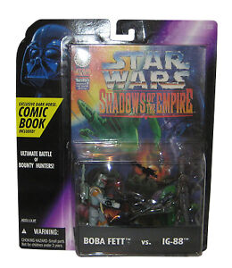 Sar Wars action figures Boba Fett vs IG-88 from 1996 with comic book