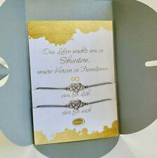 2x XXL Schwester Unendlichkeit Herz Geschenk Armband Freundschaftsarmband Danke
