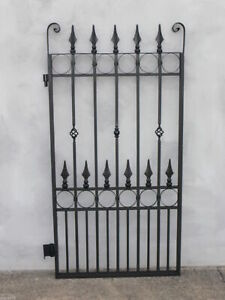 FRENCH STYLE PEDESTRIAN SIDE GATE BLACK WROUGHT IRON 1540 X 850 mm Bargain