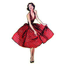 """Clear stamp (2.5""""x3"""") Lady in Red Dress FLONZ vintage acrylic rubber stamp"""