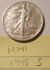 H141H1118 - Silver Walking Liberty Half Dollar 1945 S - Free Shipping