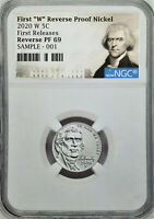 2020 FIRST W REVERSE PROOF NICKEL, NGC REV PF69, FIRST RELEASES, JEFFERSON LABEL