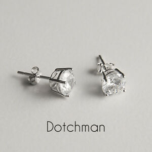 925 Sterling Silver Stud Earrings 7mm Round With Clear Cubic Zirconia