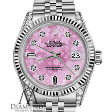 Woman's Rolex 36mm Datejust Pink Flower Mother of Pearl Dial with 8+2 Diamond