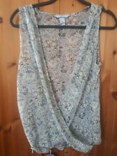 H&M sheer beige and grey Floral crossover Blouse Size 14