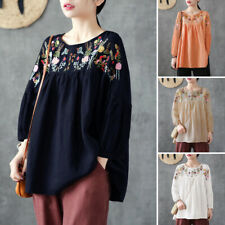 ZANZEA Women Retro Embroidered Top Tee Shirt Ladies Long Sleeve Cotton Blouse US