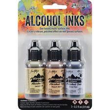 Tim Holtz Alcohol Ink .5oz 3/Pkg Wildflowers-Lemonade/Peach Bellini/Peri NEW #15