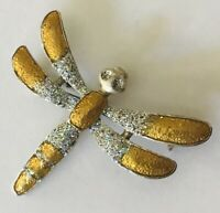 Dragonfly Gold Silver Style Brooch Pin Badge Rare Vintage (L46)
