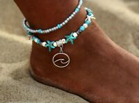 Ankle Bracelet Silver wave dangle charm Boho Fashion Beaded star Beach Anklet US