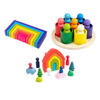 Wooden Rainbow Building Blocks Toy for Baby Toddler for Kids Early Development