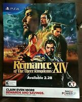 "Romance Of The Three Kingdoms XIV Poster 28"" x 22"" PS4 Promotional GameStop NEW"