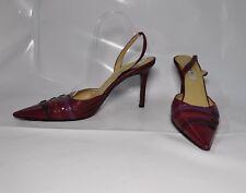 "Isaac Mizrahi dark red leather hi-heel slingback sandal - Size 11, w/4.25"" heel"
