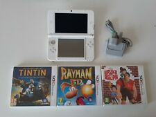 White Nintendo 3DS XL Console + Official Charger + Games