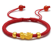 Pure 24K Yellow Gold Lucky Bless Pixiu Red Knitted Bracelet 16cm Length