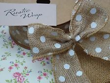 Wired Natural Hessian Polka Dot Ribbon 40mm Rustic Vintage Craft Wedding Bows