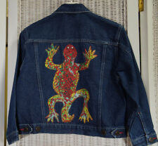 OSHKOSH Kids' Denim Jacket 128 cm 8 Yrs Hand Customized Painted Applique Lizards