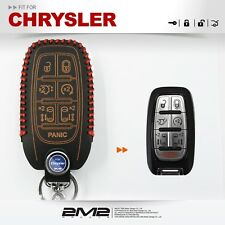 KEYLESS Leather Key fob Holder Case Chain Cover FIT For CHRYSLER PACIFICA 7B