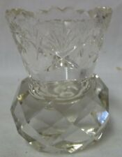 BOHEMIA CUT CRYSTAL TOOTHPICK HOLDER ETCHED SNOWFLAKES - CZECH REPUBLIC