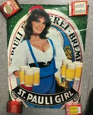 Vintage Beer Poster St Pauli Girl Budweiser Schmidt Rare 70s 80s M7