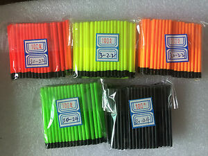 6 of 6 Hollow Antenna Fluo Tips Bristle For Pole Fish Float Pack of 100pcs 3.0mm