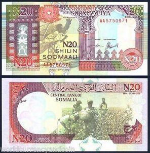 SOMALIA 20 SHILLIN P R1 1991 RARE MN FORCES UNC EMERGENCY MONEY BILL  BANK NOTE
