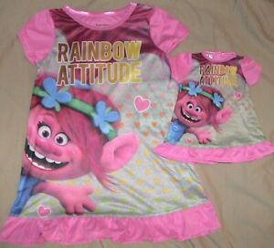 RAINBOW ATTITUDE/TROLLS-PINK NIGHTGOWN & MATCHING DOLL GOWN-GIRLS SIZE 4-NWT