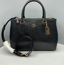Original COACH Surrey Satchel Carryall Bag F44958 Black Crossgrain Leather Zip