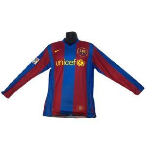 BNWT 2007-08 FC Barcelona Ronaldinho Jersey Kit Sleeve Nike Shirt Large