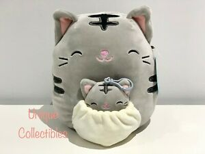 """Squishmallows Mom and Baby Tally the Tabby Cat 8"""" Plush Brand New"""