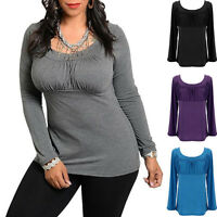 Women Basic Long Sleeve Casual Round Neck Ladies Stretch Plus Size TopS T Shirt