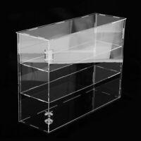 Clear 3-Shelf Makeup Models Acrylic Display Case Riser Dustproof Box Holder
