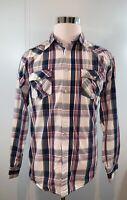 PD&C Men's Snap Button Up Long Sleeve Shirt Plaid Western Pockets Size XL