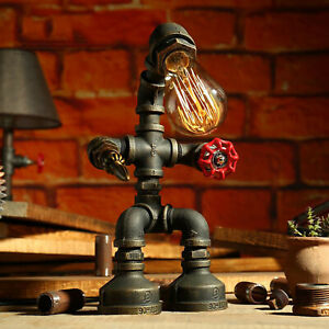Vintage Steampunk Industrial Iron Water Pipe Robot Table Lamp Desk Light Fixture