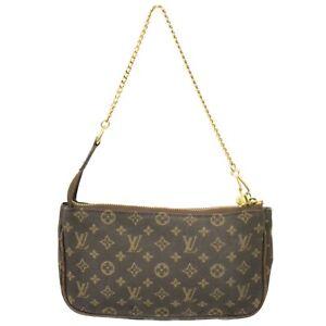 Louis Vuitton Monogram Idylle Canvas Chain Strap Pouch Mini Hand Bag Brown Gold