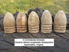 5 Old Rare Vintage Antique Civil War Relic Bullets James Longstreet Headquarters