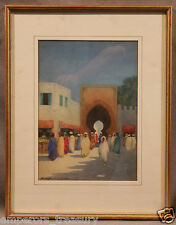 19th Century Watercolor by Scottish Artist Hans Jacob Hansen Market Scene