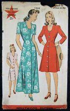 Vintage Original  Hollywood 40's Afternoon Dress/Housecoat Pattern No. 1235