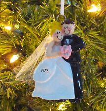Wedding Couple Just Married First Personalized Christmas Wedding Ornament
