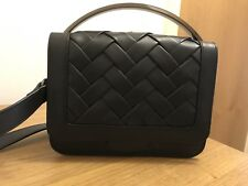 Ladies Black Leather Criss Cross Handbag- Perfect Gift