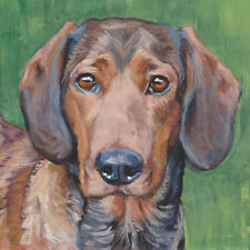 ALPINE DACHSBRACKE dog portrait art PRINT of LAS painting Alpenländische 8x8""